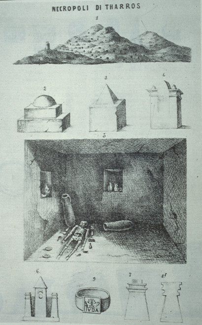 Plate of G. Spano on the excavation of 1850 in the southern necropolis of Tharros (G. Spano, Notizie sull'antica città di Tharros, in BAS, 1861, tav. f.t.).