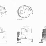 Pianta, sezione e prospetti della torre di San Giovanni (da Aa.Vv., Torri costiere della Provincia di Oristano. Storia, immagini e progetti di riuso, s.l. 2002, pp. 30-31).