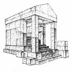 Ricostruzione del cd. tempietto K (da E. Acquaro, Nuove ricerche a Tharros, in I ACFP, Roma, 5-10 Novembre 1979, Roma 1983, III, fig. 4).